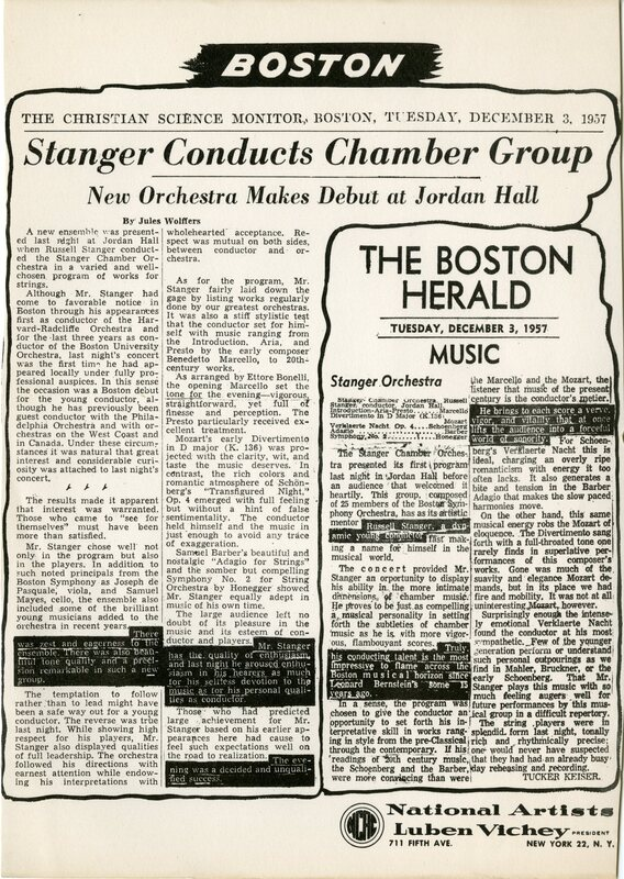 Stanger with Boston Little Orchestra.