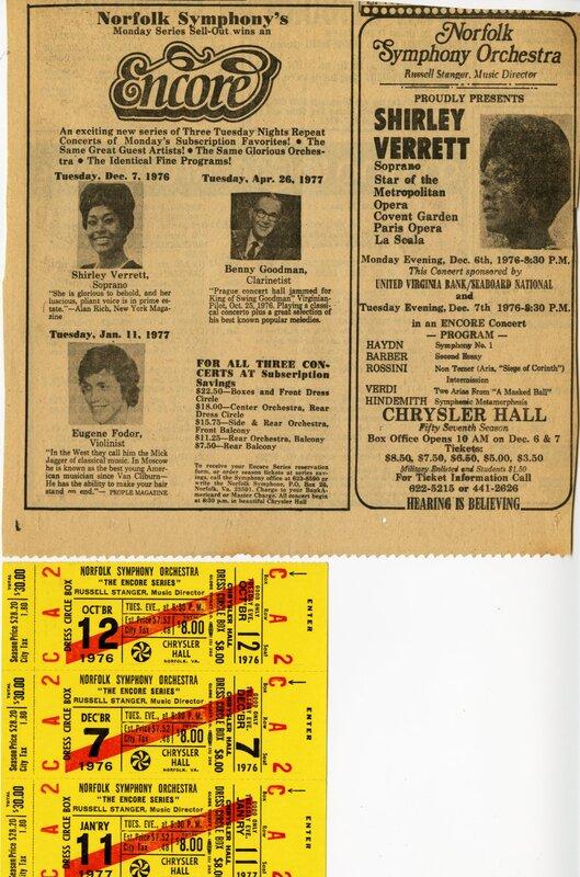 Norfolk Symphony ad, tickets.