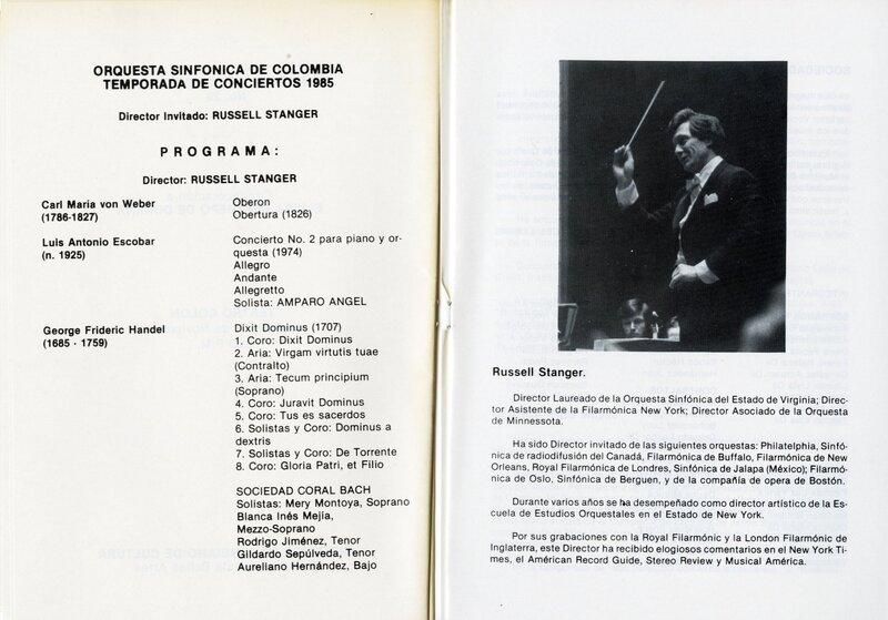 Stanger, international engagements, 1980s.