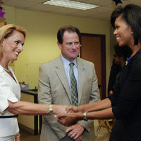 John R. Broderick with Kate Broderick and Michelle Obama